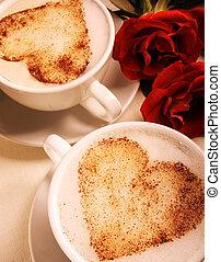 szerelmes pár, csészék