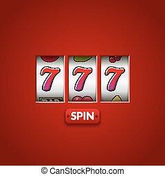 szerencsés 7, 777, rés, machine., kaszinó, vegas, game., hazárdjáték, szerencse, chance., győz, főnyeremény, pénz