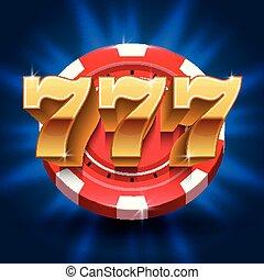 szerencsés, 777, számok, győz, rés, háttér., vektor, hazárdjáték, és, kaszinó, fogalom