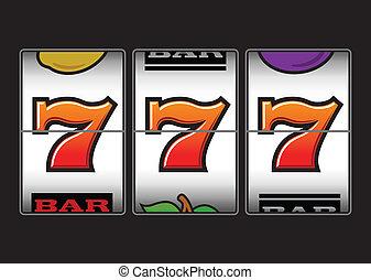 szerencsés, háromszoros, sevens, horony, gép