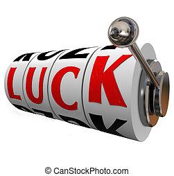 szerencse, rés, tol, hazárdjáték, sors, lehetőség, szó, dugóhúzó, to győz