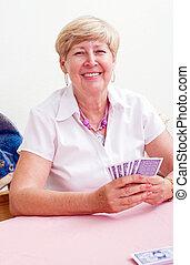 szerencsejáték, mosolyog woman