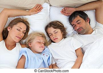szerető, együtt, alvás, család