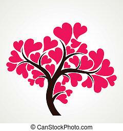 szerető, fa, noha, rózsaszínű, szív alakzat, le