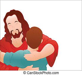 szerető, fiú, vektor, fiatal, jézus