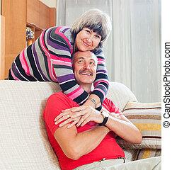 szerető, közönséges, senior összekapcsol, együtt