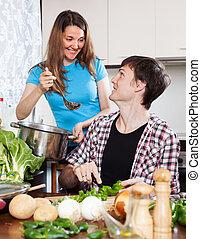 szerető párosít, főzés, együtt