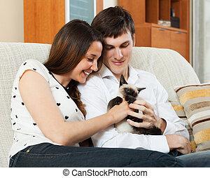 szerető párosít, noha, cica