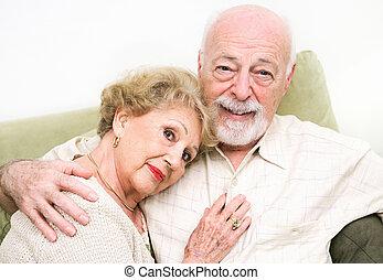 szerető, senior összekapcsol, otthon
