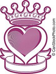 szerető, szív, művészi ábra, noha, király, crown., királyi,...
