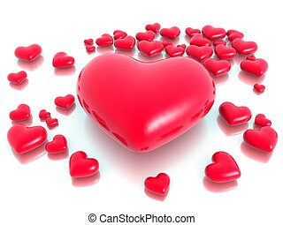szeret, és, piros, kedves, nap, fogalom