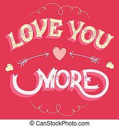 szeret, ön, több, köszönés kártya