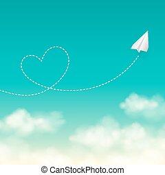 szeret, újság sima, utazás, napos, kék ég, háttér, vektor, repülés, fogalom