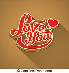 szeret, üzenet, modern, kedves, ön