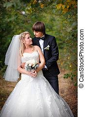 szeret, a, menyasszony inas, alatt, a, nyár, liget