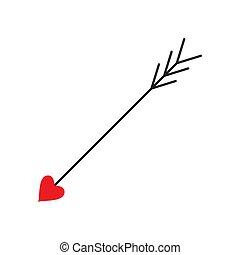 szeret, arrow., cupid)., nyíl, (amour, erosz