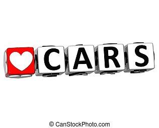 szeret, autók, gombol, itt, szöveg, csattant, tömb, 3