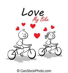szeret, az enyém, bicikli