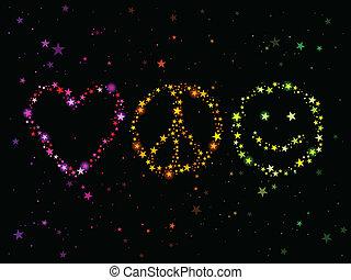 szeret, béke, és, boldogság