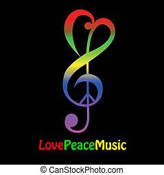 szeret, béke, és, zene
