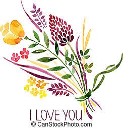 szeret, bouquet., ábra, vízfestmény, vektor, virágos, kártya