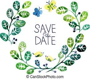 szeret, bouquet., kedves, vízfestmény, esküvő, virágos, kártya