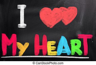 szeret, fogalom, az enyém, szív