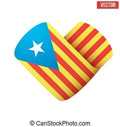 szeret, forma, lobogó, heart., catalonia, ikon