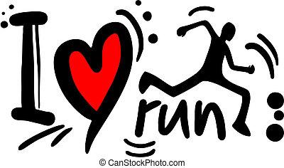 szeret, futás