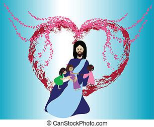 szeret, gyerekek, jézus