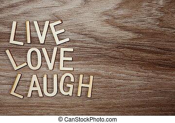 szeret, háttér, fából való, szöveg, él, nevet, üzenet