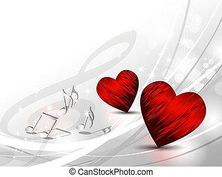 szeret, háttér, -, piros