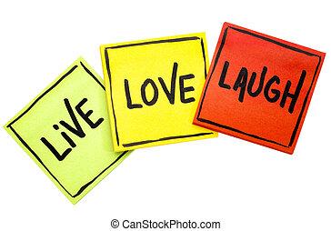 szeret, hangjegy, él, -, nevet, figyelmeztetés