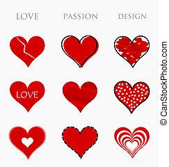 szeret, indulat, tervezés, piros