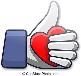 szeret, jelkép, ikon, noha, szív