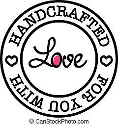szeret, kézi, vektor, retro, ön, jelvény