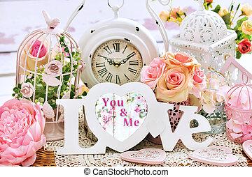 szeret, kopott, romantikus, sikk, dekoráció