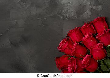 szeret, kopott, szöveg, szürke, sikk, nézet., decor., agancsrózsák, tető, háttér., fekete, zenemű, piros, copyspace, sötét háttér, nap, kártya, romantikus, valentines, köszönés, piros, concept.