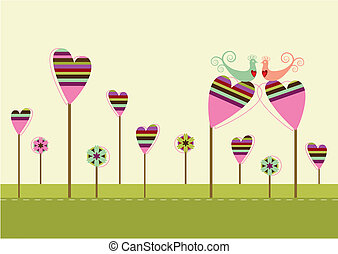 szeret madár, alatt, a, szeret, kert