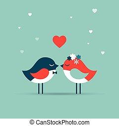 szeret, meghív, valentine's, kártya, köszönés, nap, esküvő, madarak