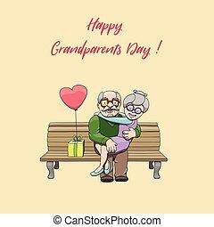 szeret, nagyszülők, párosít, öregedő, day., misét celebráló, transzparens, nemzeti, boldog