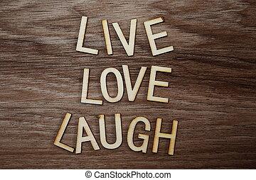 szeret, nevet, fából való, szöveg, messege, él, háttér