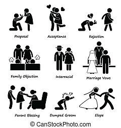 szeret, párosít, házasság, probléma