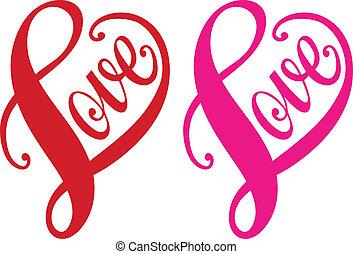 szeret, piros szív, tervezés, vektor
