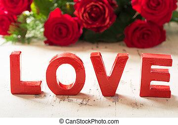 szeret, piros, valenine, háttér, noha, agancsrózsák