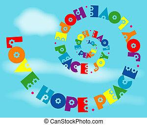 szeret, remény, béke, öröm, szivárvány, spirál