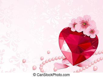 szeret szív, és, cseresznye virágzik