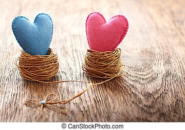 szeret szív, kézi munka, képben látható, wood., valentines, day., párosít, alatt, fészkel