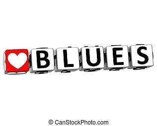 szeret, szöveg, gombol, itt, blues, csattant, tömb, 3