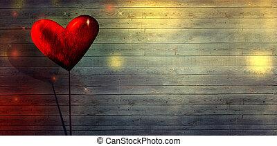 szeret, valentines, bokeh., day., háttér, asztal